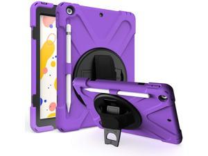iPad 7th 8th 10.2 Generation Case, Shockproof Heavy Duty Rugged Protection Case Stand Secure Hand Grip Shoulder Strap Sling for Apple iPad 10.2-inch 7th 8th Gen (Purple)