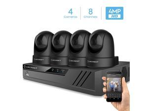 Amcrest 4MP Security Camera System w/ 4K 8CH NVR, (4) x 4-Megapixel Dome WiFi IP Cameras, Pan/Tilt Surveillance, Dualband 5ghz / 2.4ghz, Two-Way Audio, NV4108-IP4M-1051B4 (Black)
