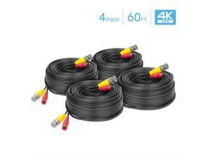 Amcrest 4-Pack 4K Security Camera Cable 60FT BNC Cable, Camera Wire CCTV, Pre-Made All-in-One Video and Power Cable for Security Camera, HDCVI, HDTVI Camera, Analog, DVR (4PACK-SCABLE4K60B-PP)