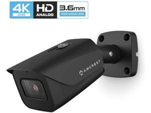 Amcrest UltraHD 4K Bullet Outdoor Security Camera, 4K (8-Megapixel), Analog Camera, 130ft Night Vision, IP67 Weatherproof Housing, 3.6mm Lens 87° Wide Angle, Built-in Microphone, Black (AMC4KBC36-B)