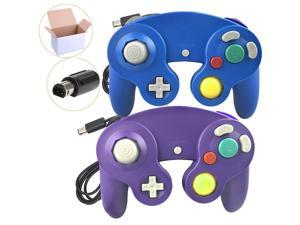 2 Packs Classic Wired Gamepad Controllers for Wii Game Cube Gamecube Console (Blue and Red)