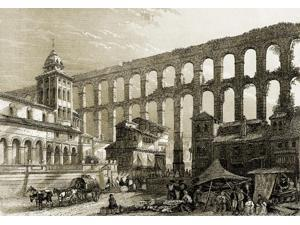 Ancient Roman Aqueduct in Segovia Spain Poster Print by Science Source (24 x 18)