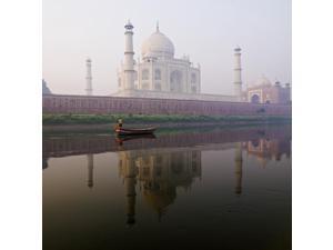Person In Boat In Front Of Taj Mahal Agra India Poster Print (18 x 18)