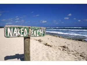 Mexico Yucatan Peninsula Cozumel Naked Beach Sign In Sand Ocean And Blue Sky In Background Poster Print (17 x 11)