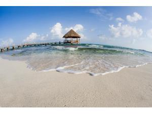 Mexico Yucatan Peninsula Tulum Pier Over Turquoise Ocean Poster Print (19 x 12)