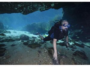 A scuba diver explores the Blue Springs cave in Marianna, Florida Poster Print (32 x 23)