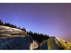 Star Trails Over Rocks In Saguenay-St Lawrence Marine Park Ile-Aux-Lievres Quebec Canada Poster Print (18 x 12)