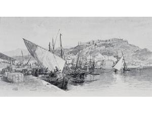 Posterazzi DPI1858942 Harbour Malaga Spain by Edward T. Compton 1849-1921 From The Picturesque Mediterranean Circa 1890 Print, 19 x 10