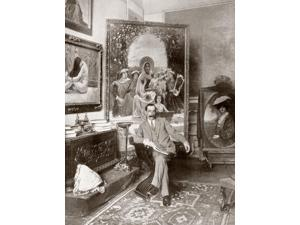 Pedro Senz Senz 1863 - 1927 Pre-Raphaelite Brotherhood Spanish Painter Here Seen In His Malaga Studio From La Esfera 1914 Poster Print (12 x 16)