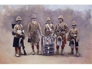 Private Drummers Piper And Bugler Of The Black Watch During The Second Boer War From The Book South Africa And The Transvaal War By Louis Creswicke Published 1900 Poster Print (18 x 11)
