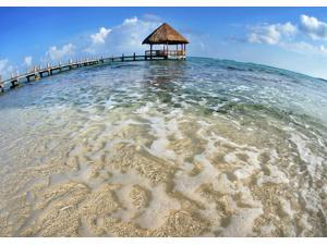 Mexico, Yucatan Peninsula, Tulum, Pier Over Turquoise Ocean. Poster Print (18 x 13)