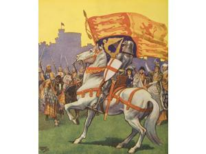 Posterazzi DPI1859056 St George with Royal Standard & Shield with Cross of St George From Silver Jubilee Tattoo Aldershot Official Programme 1935 Artist Ernest Ibbetson Poster Print, 13 x 15