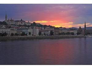 Sunset Over Danube River; Budapest Hungary Poster Print (19 x 12)