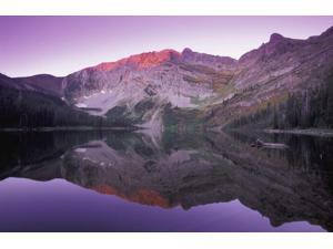 Mountain At Sunset Kootenays British Columbia Canada Poster Print (17 x 11)