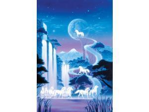 White Unicorn Falls Poster Print by Robin Koni (12 x 6)