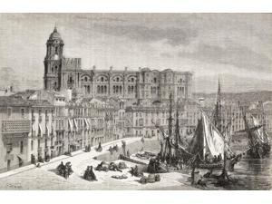 View Of Malaga Harbour And Cathedral, Spain, During The 19Th Century. From El Mundo En La Mano, Published 1878.