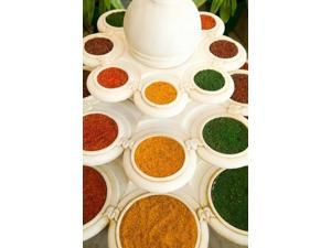 Bowls of Spices from Above, Agra, India Poster Print by Bill Bachmann (18 x 24)