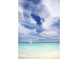 Mexico Yucatan Peninsula Sailboat Sailing On Turquoise Water Poster Print (12 x 17)