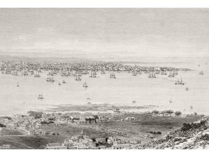 Montevideo Uruguay View To City Across Bay Of Montevideo Circa 1870S From A 19Th Century Illustration Poster Print (17 x 12)