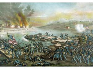 Vintage Civil War print of the Battle of Fredericksburg Poster Print (17 x 11)