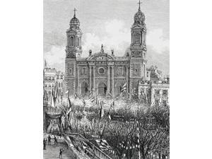 Montevideo Uruguay Cathedral In The Plaza De La Constitucion In The 1880S Poster Print (13 x 16)