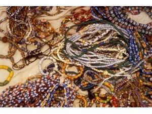 Beadmaker Displaying Samples, Asameng, Ghana Poster Print by Alison Jones (18 x 12)