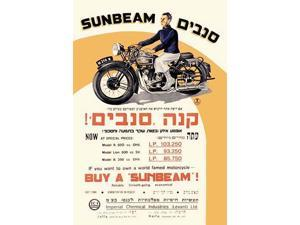 This advertisiment is for the market in Israel with sales offices in Haifa and Jaffa  Sunbeam was a British manufacturing marque that produced bicycles and motorcycles from 1912 to 1956 Poster Print b