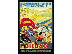 Travel poster for Bilbao in the Basque region of Spain promoted for tourism by El Patronato Nacional de Turismo (1928-1932)  The poster is full of vibrant colors and happy people on a beach vacation P
