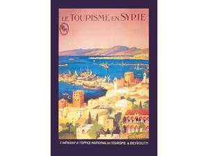 PLM & Office National Tourisme poster LE TOURISM IN SYRIA - THE PORT OF BEIRUT  Art by Julien Lacaze (1886-1971) Poster Print by Julien Lacaze (18 x 24)