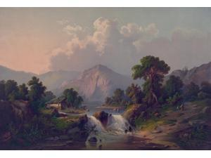 Country scene of river and waterfall in New Yorks Catskills Poster Print (18 x 24)