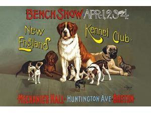 A poster showing a variety of dogs at the New England Kennel Clubs dog show to be held at Mechanics Hall Huntington Ave Boston Poster Print by The Forbes Co (18 x 24)