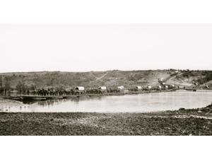 Fredericksburg Virginia Pontoon bridge across the Rappahannock Poster Print (18 x 24)