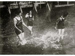 Girls Frolic in water at Alameda Poster Print (18 x 24)