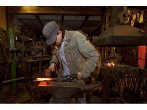 Blacksmith Wayne Suhrbier pounds heated metal into shapes at the Kentuck Arts Center in Tuscaloosa Alabama Poster Print by Carol Highsmith (18 x 24)