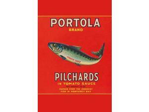 A can label for Portola Brand Pilchards in tomato sauce  These little fish were packed in Monterey Bay California Poster Print by Unknown (18 x 24)