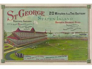 St George Staten Island 20 minutes from the Battery a baseball game in progress before crowded grandstand at St George park on Staten Island with view of New York harbor Poster Print by unknown (18 x