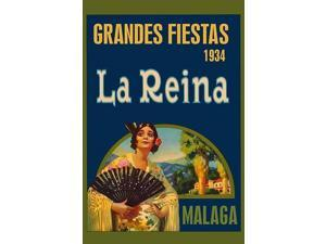 A modern poster displaying a 1934 festival in Malaga Spain in honor of the Queen Poster Print by Sara Pierce (18 x 24)