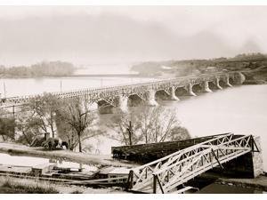 Washington DC Closer view of Aqueduct Bridge with Chesapeake and Ohio Canal in foreground Poster Print (18 x 24)