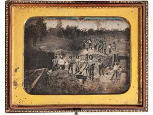 Gold Mining Scene By Robert Vance C 1850  Shovels And Pans Working Sluice Boxes While Others Oversee The Operation From The Top Of The Mining Cut Remarkably Detailed View Of The EquipmentStructures In