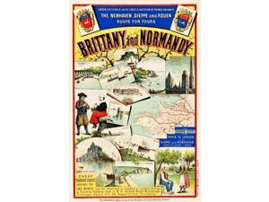 travel poster offers a beautiful collage of enchanting western France destinations accessible via the London Brighton & South Coast & Western of France Railways Magical Mount Saint Michel the soaring