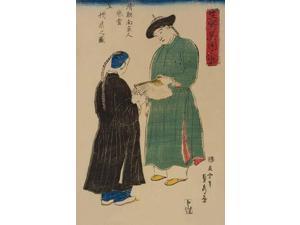 Japanese print shows two Chinese men admiring a folding fan from Koshu (Hangzhou China)  From series entitled Ikiutsushi ikoku jinbutsu (Life sketch of foreigners)  Done by Sadahide Utagawa (1807-1873