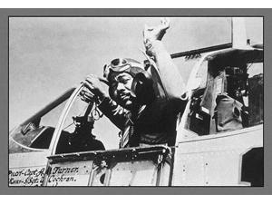 Capt Andrew D Turner who in a few minutes will be escorting heavy bombers en route to enemy targets signals to the chief of his ground crew before taking off from a base in Italy He is a member of the