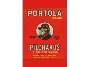 A can label for Portola Brand Pilchards in tomato sauce featuring an early sea explorer  These little fish were packed in Monterey Bay California Poster Print by Unknown (18 x 24)