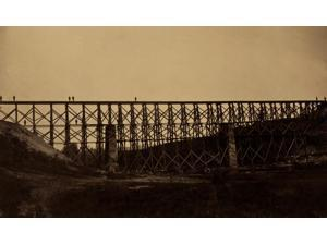 Military railroad bridge over Potomac Creek on the Richmond Fredericksburg & Potomac Railroad built by the USMRR Construction Corps CF Nagle supervisor  photographed by Capt AJ Russell chief of Photog