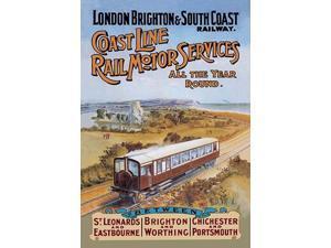 London Brighton Coast Line Passenger train sans engine traverses the English Countryside  The London Brighton and South Coast Railway (LB&SCR known also as the Brighton line the Brighton Railway or th