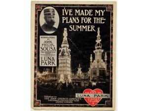 Luna Park on Coney Island ablaze with lights invites the summer crowd in New York with an inset cartouche of the military band leader John Philip Sousa Poster Print (18 x 24)