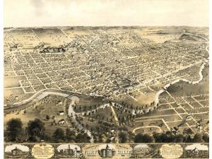 Birds eye view of the city of Fort Wayne Indiana 1868 Poster Print (18 x 24)