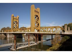 Historic Tower Bridge Sacramento California over the Sacramento River Poster Print (18 x 24)