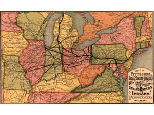Pittsburgh Fort Wayne & Chicago Cleveland and Pittsburgh Grand Rapids and Indiana and Pennsylvania railroads Poster Print (18 x 24)