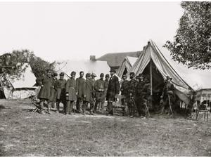 Photograph from the main eastern theater of the war Battle of Antietam September-October 1862 1 Col Delos B Sacket IG 2 Capt George Monteith 3 Lt Col Nelson B Sweitzer 4 Gen George W Morell 5 Col Alex